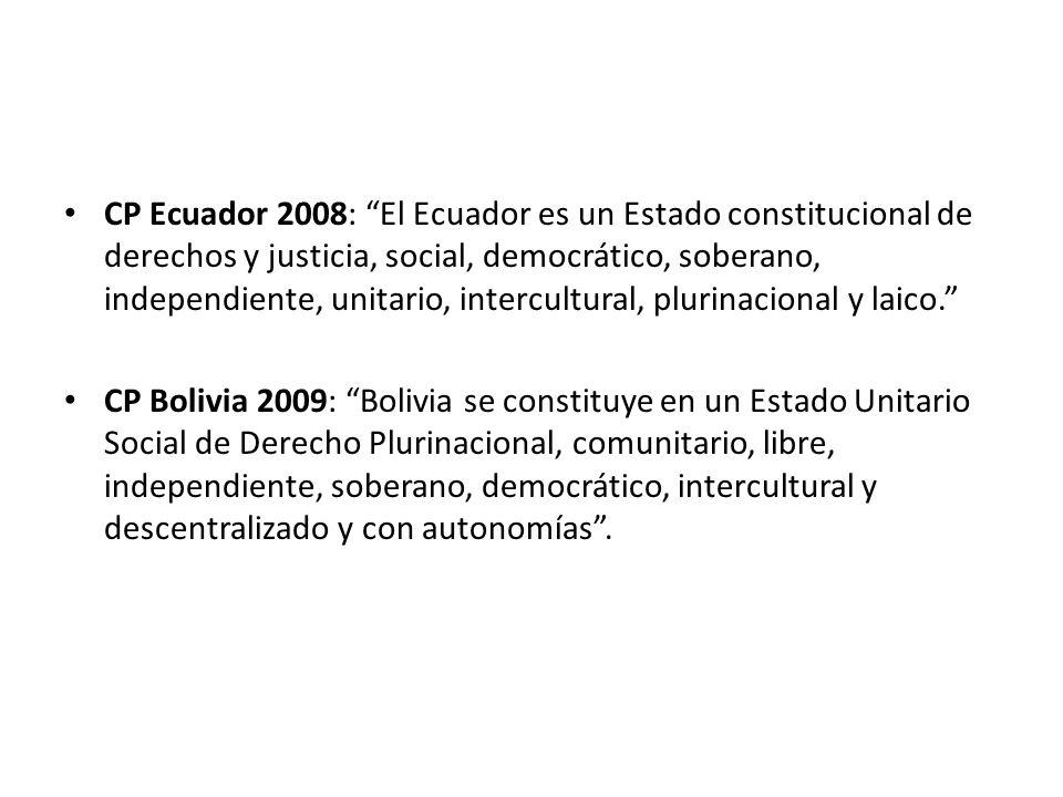 CP Ecuador 2008: El Ecuador es un Estado constitucional de derechos y justicia, social, democrático, soberano, independiente, unitario, intercultural, plurinacional y laico.