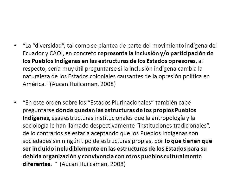 La diversidad , tal como se plantea de parte del movimiento indígena del Ecuador y CAOI, en concreto representa la inclusión y/o participación de los Pueblos Indígenas en las estructuras de los Estados opresores, al respecto, sería muy útil preguntarse si la inclusión indígena cambia la naturaleza de los Estados coloniales causantes de la opresión política en América. (Aucan Huilcaman, 2008)