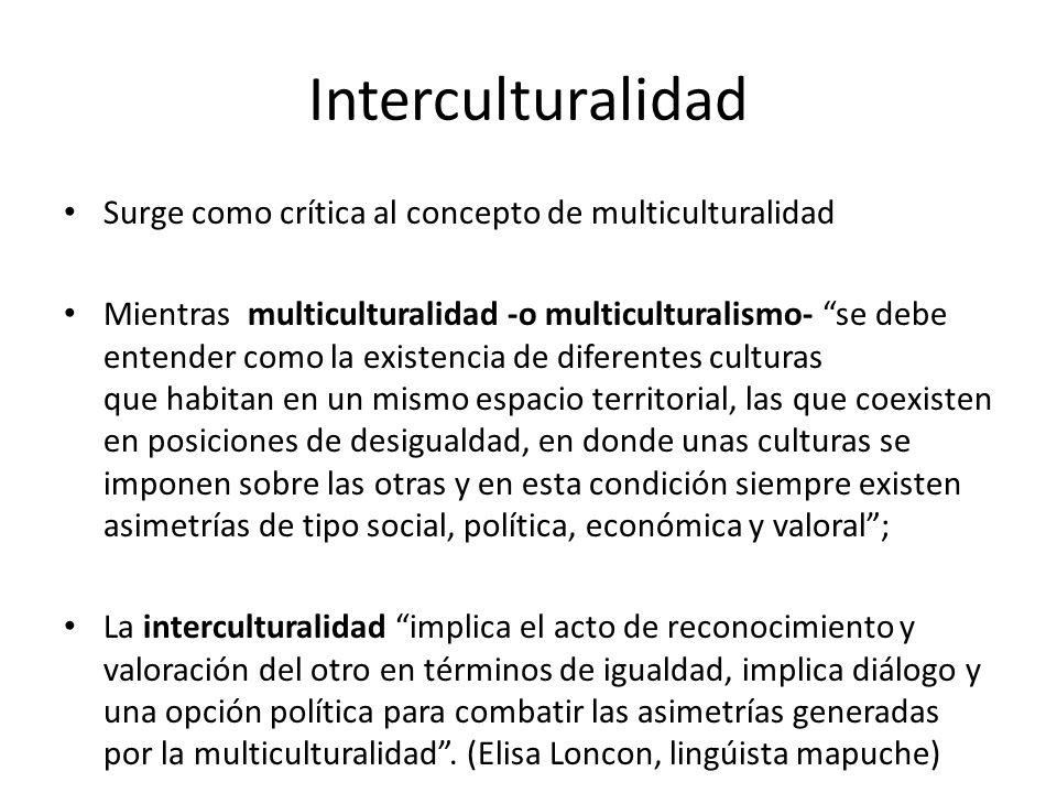 Interculturalidad Surge como crítica al concepto de multiculturalidad