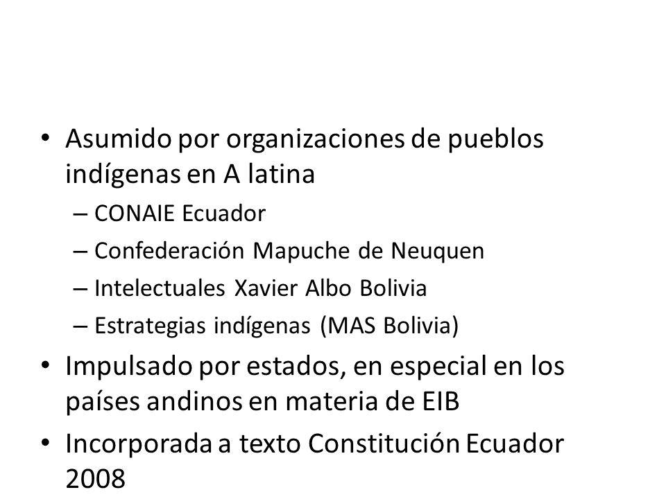 Asumido por organizaciones de pueblos indígenas en A latina