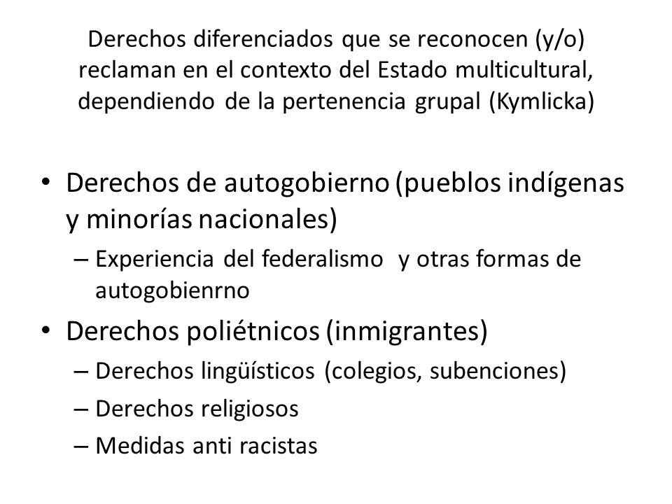 Derechos de autogobierno (pueblos indígenas y minorías nacionales)