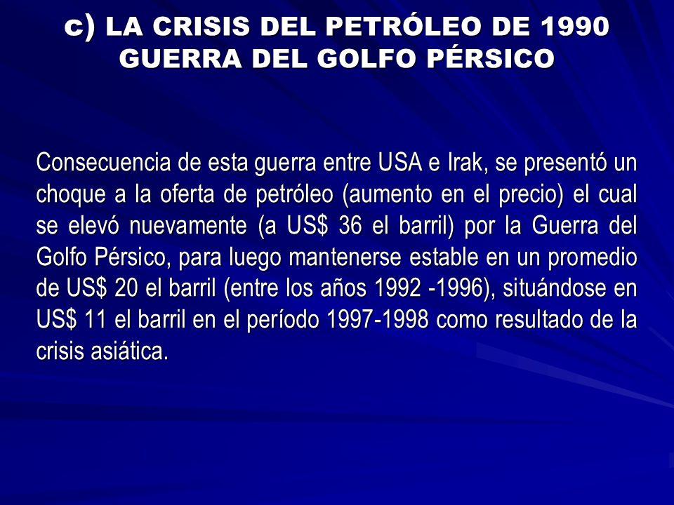 c) LA CRISIS DEL PETRÓLEO DE 1990 GUERRA DEL GOLFO PÉRSICO