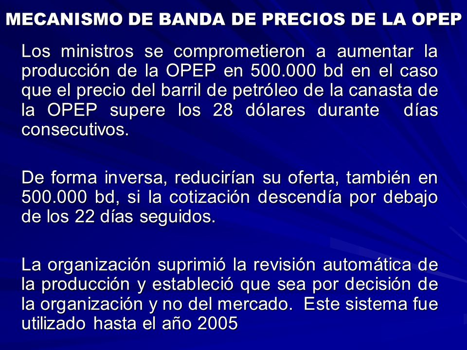 MECANISMO DE BANDA DE PRECIOS DE LA OPEP