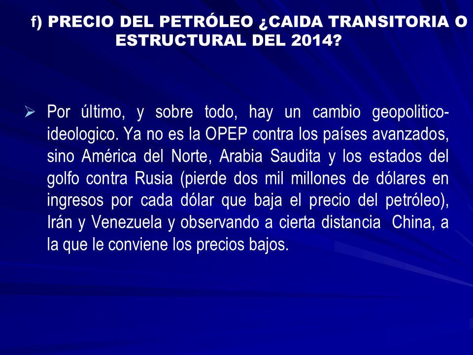 f) PRECIO DEL PETRÓLEO ¿CAIDA TRANSITORIA O