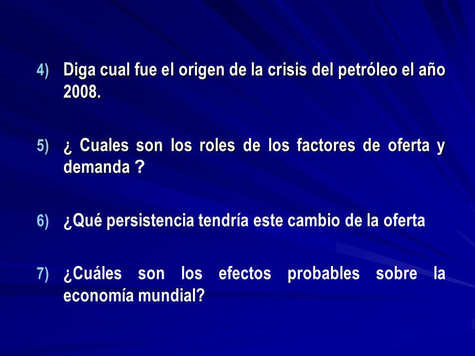 Diga cual fue el origen de la crisis del petróleo el año 2008.