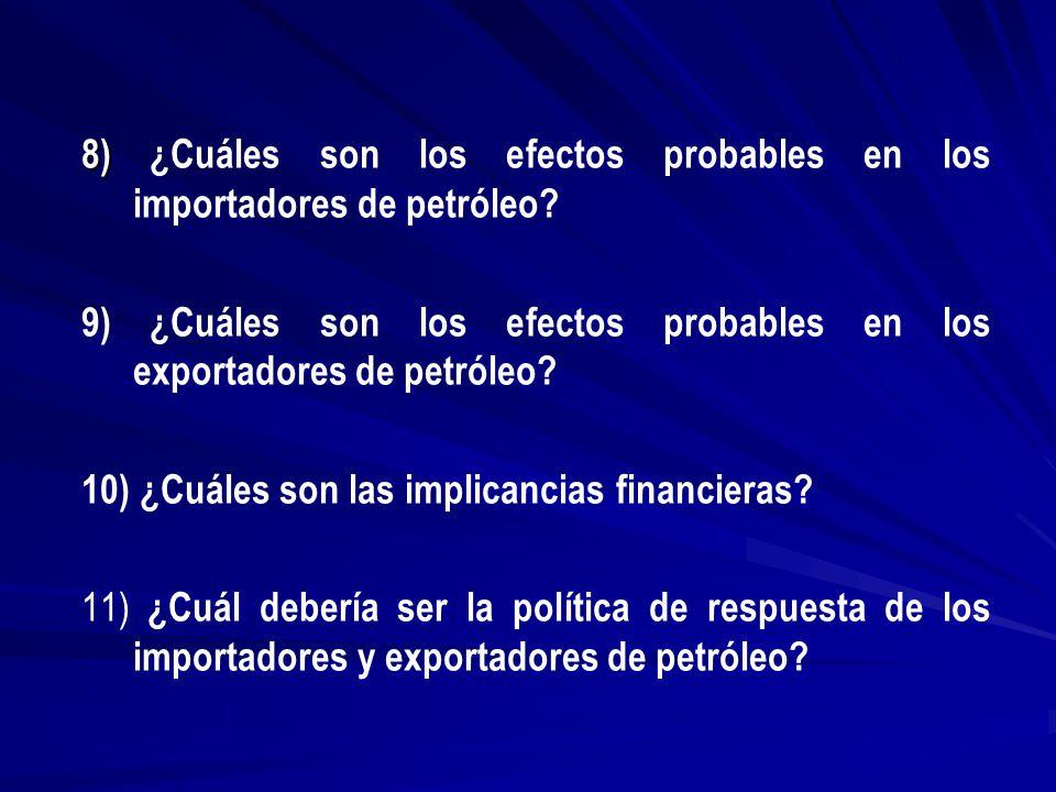 8) ¿Cuáles son los efectos probables en los importadores de petróleo