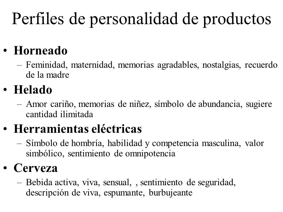 Perfiles de personalidad de productos