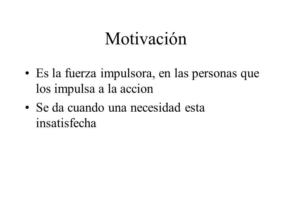 Motivación Es la fuerza impulsora, en las personas que los impulsa a la accion.