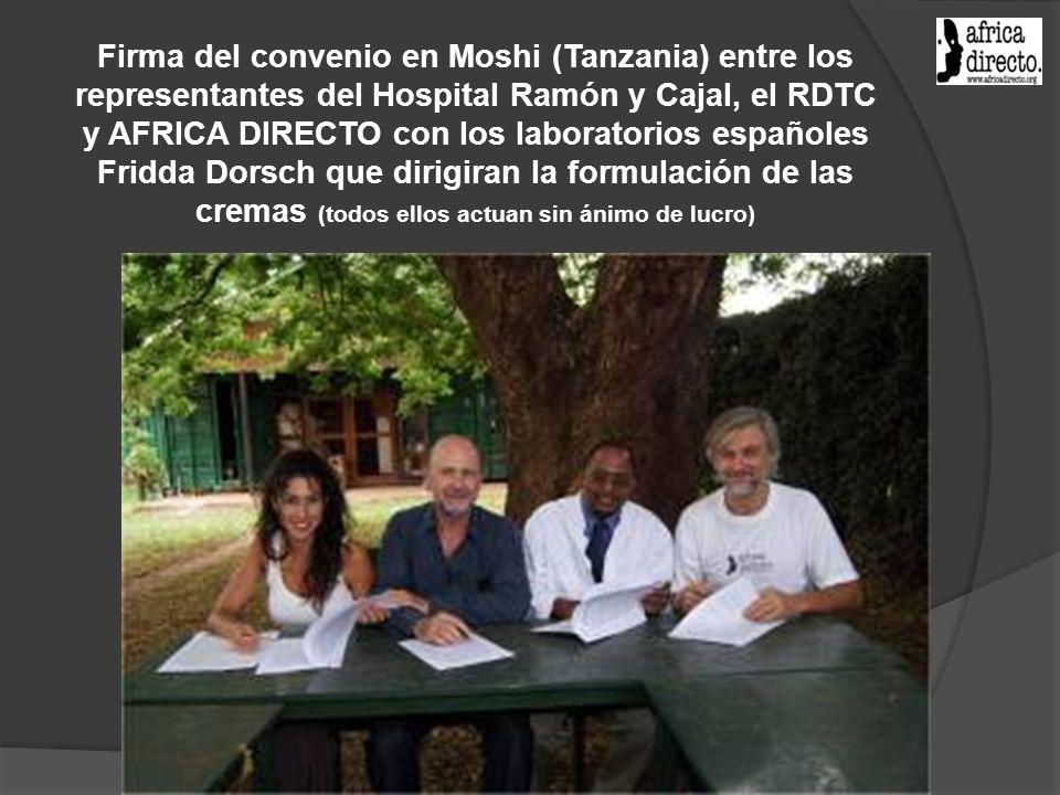 Firma del convenio en Moshi (Tanzania) entre los representantes del Hospital Ramón y Cajal, el RDTC y AFRICA DIRECTO con los laboratorios españoles Fridda Dorsch que dirigiran la formulación de las cremas (todos ellos actuan sin ánimo de lucro)