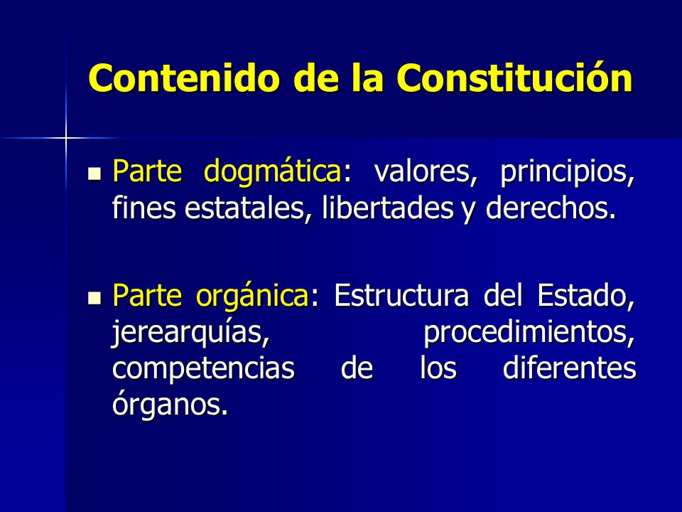 Contenido de la Constitución
