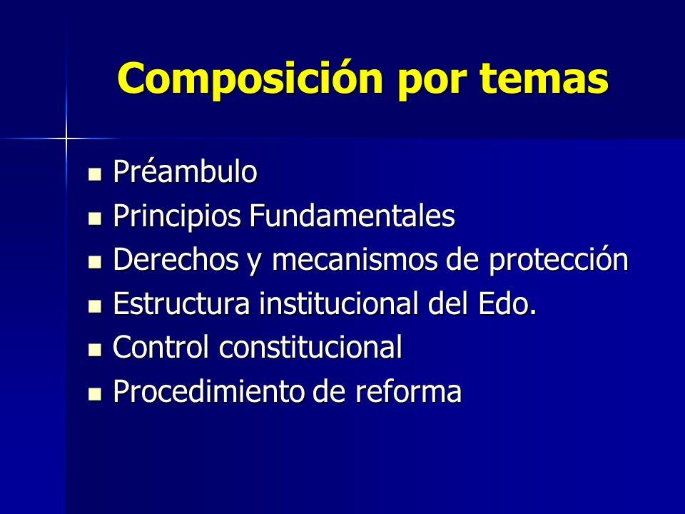 Composición por temas Préambulo Principios Fundamentales