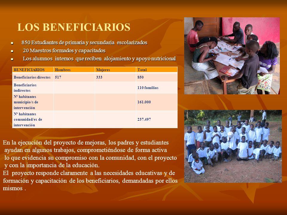 LOS BENEFICIARIOS 850 Estudiantes de primaria y secundaria escolarizados. 20 Maestros formados y capacitados.