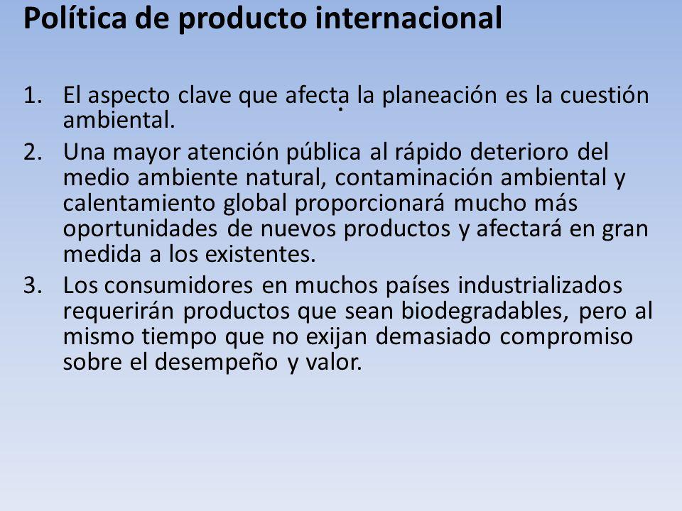 . Política de producto internacional