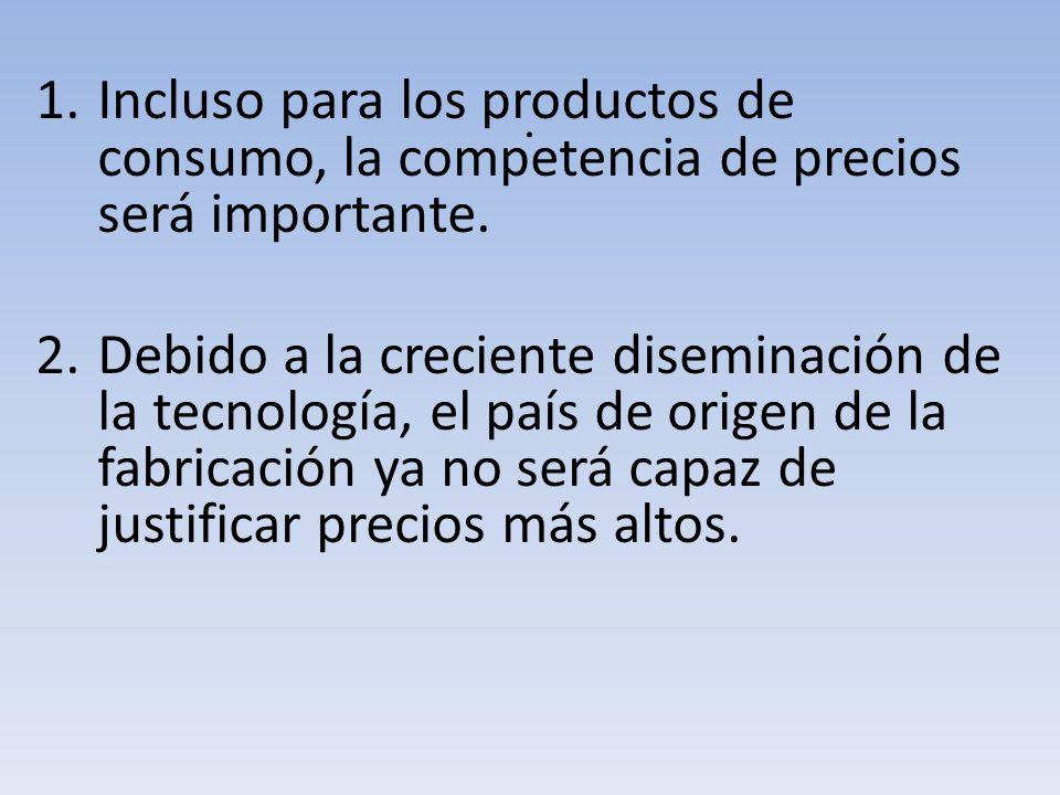 . Incluso para los productos de consumo, la competencia de precios será importante.