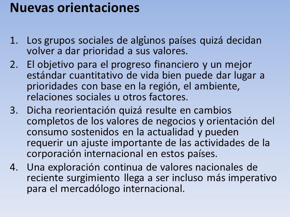 . Nuevas orientaciones. Los grupos sociales de algunos países quizá decidan volver a dar prioridad a sus valores.