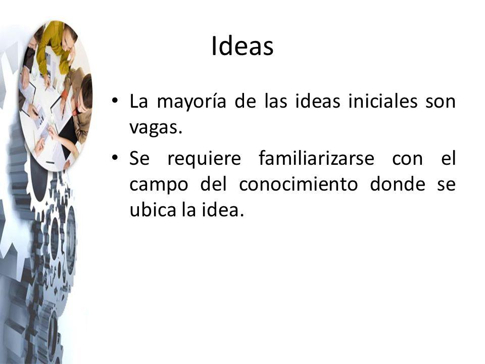 Ideas La mayoría de las ideas iniciales son vagas.
