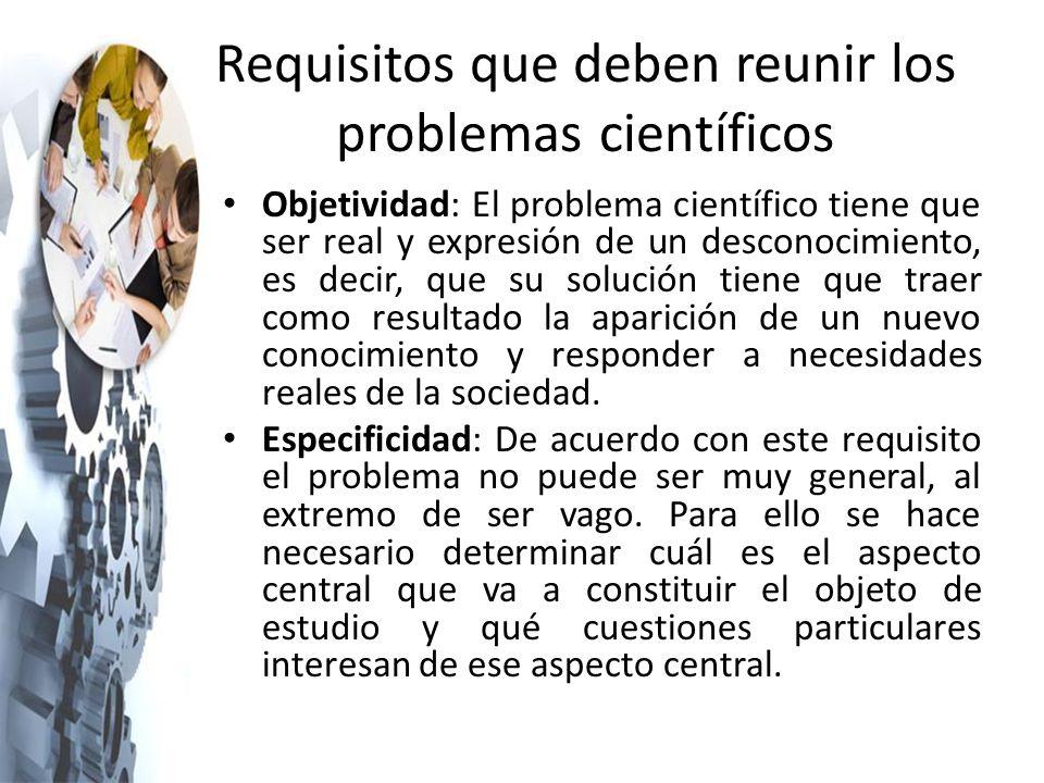 Requisitos que deben reunir los problemas científicos