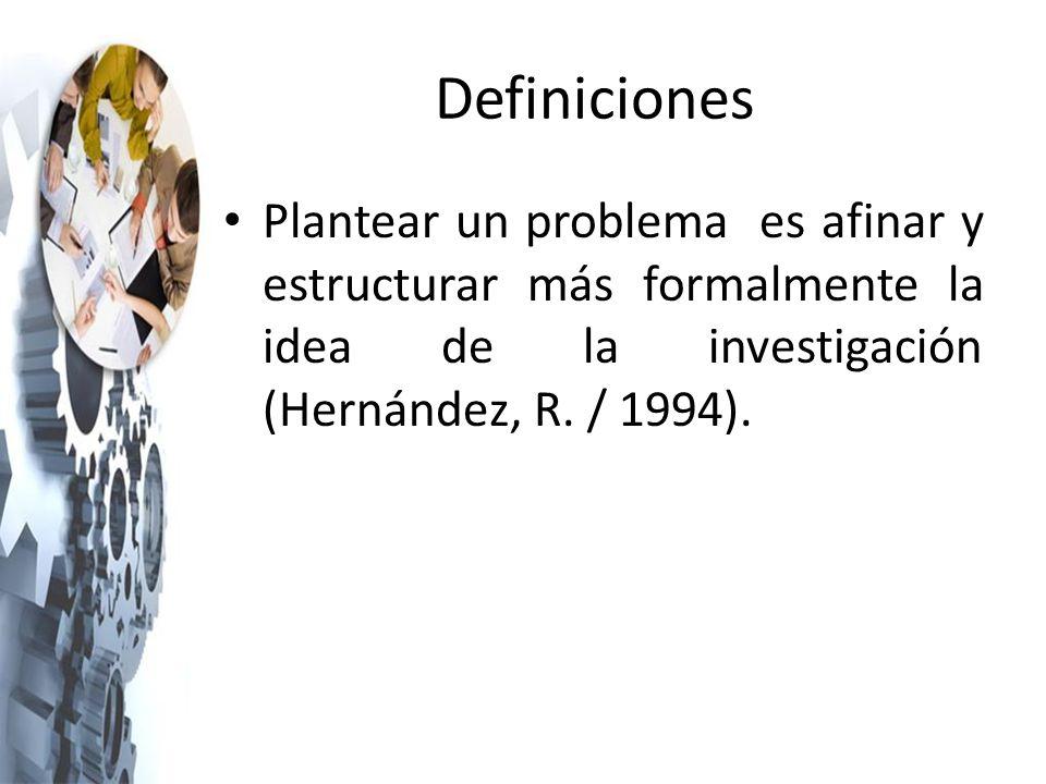 Definiciones Plantear un problema es afinar y estructurar más formalmente la idea de la investigación (Hernández, R.