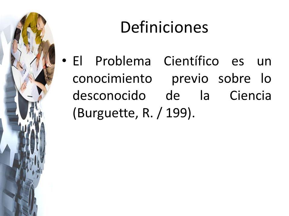 Definiciones El Problema Científico es un conocimiento previo sobre lo desconocido de la Ciencia (Burguette, R.