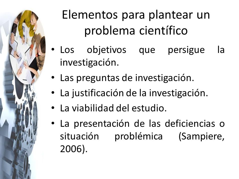 Elementos para plantear un problema científico