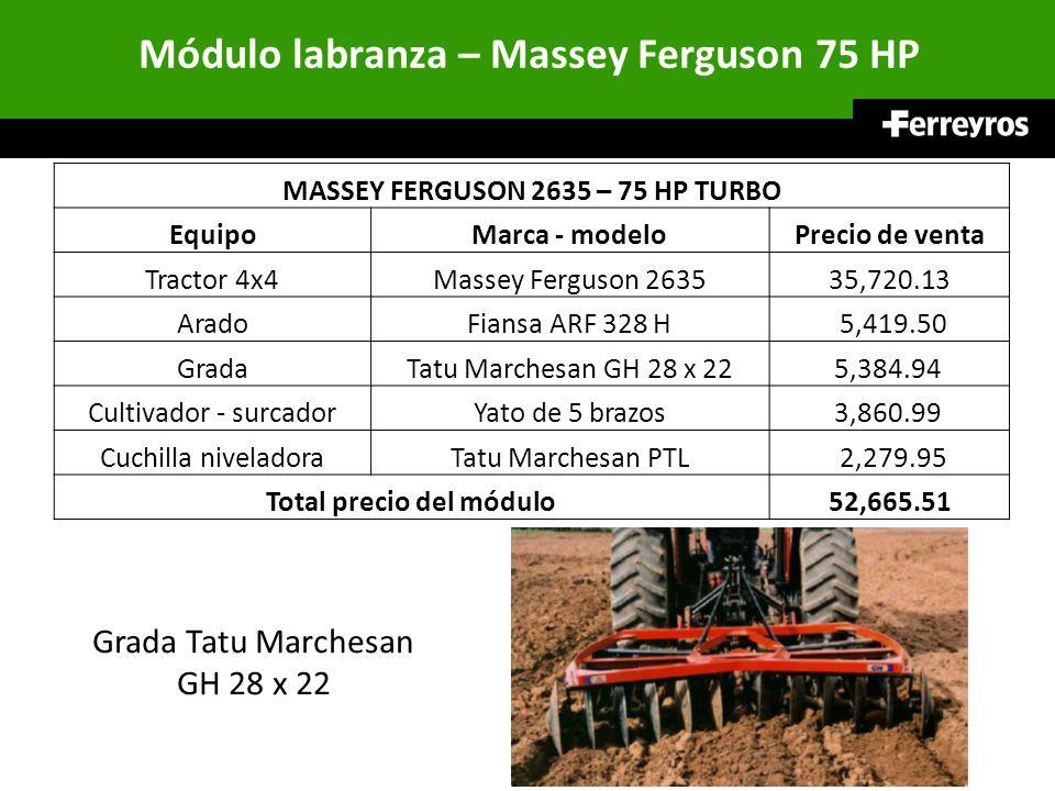 Módulo labranza – Massey Ferguson 75 HP