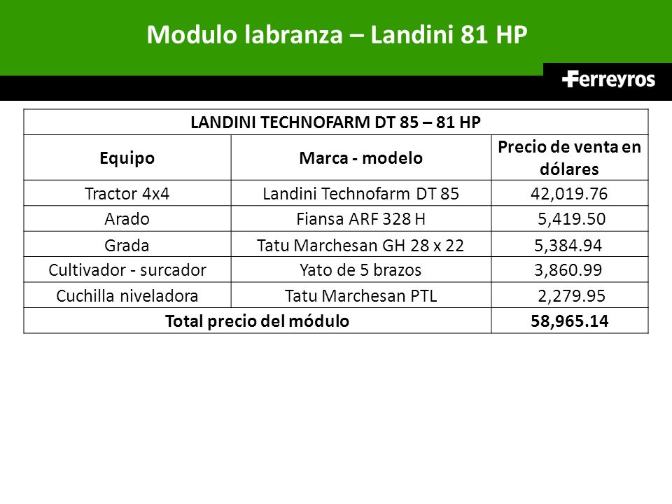 Modulo labranza – Landini 81 HP