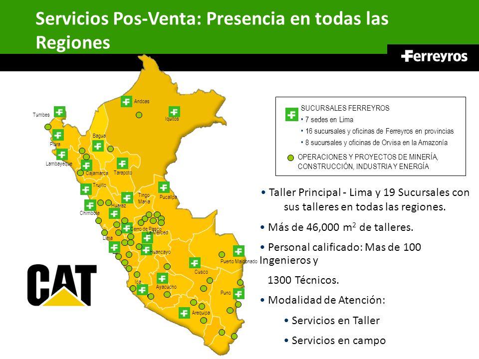 Servicios Pos-Venta: Presencia en todas las Regiones