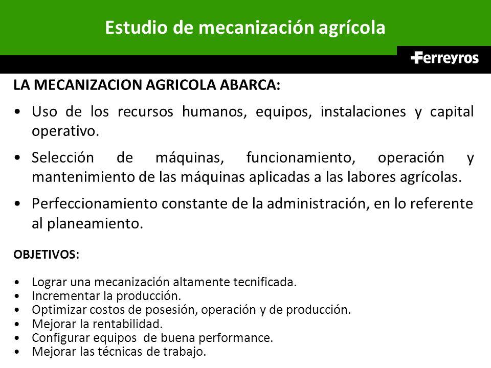Estudio de mecanización agrícola