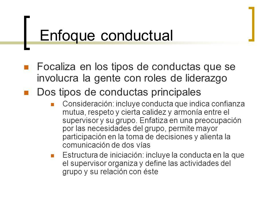 Enfoque conductual Focaliza en los tipos de conductas que se involucra la gente con roles de liderazgo.