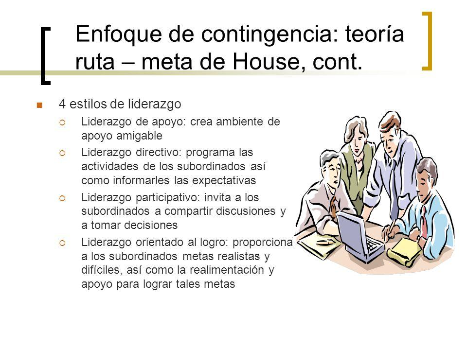 Enfoque de contingencia: teoría ruta – meta de House, cont.