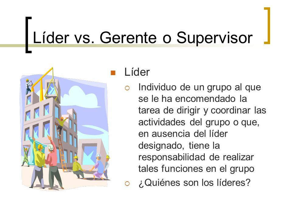 Líder vs. Gerente o Supervisor