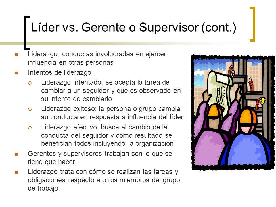 Líder vs. Gerente o Supervisor (cont.)