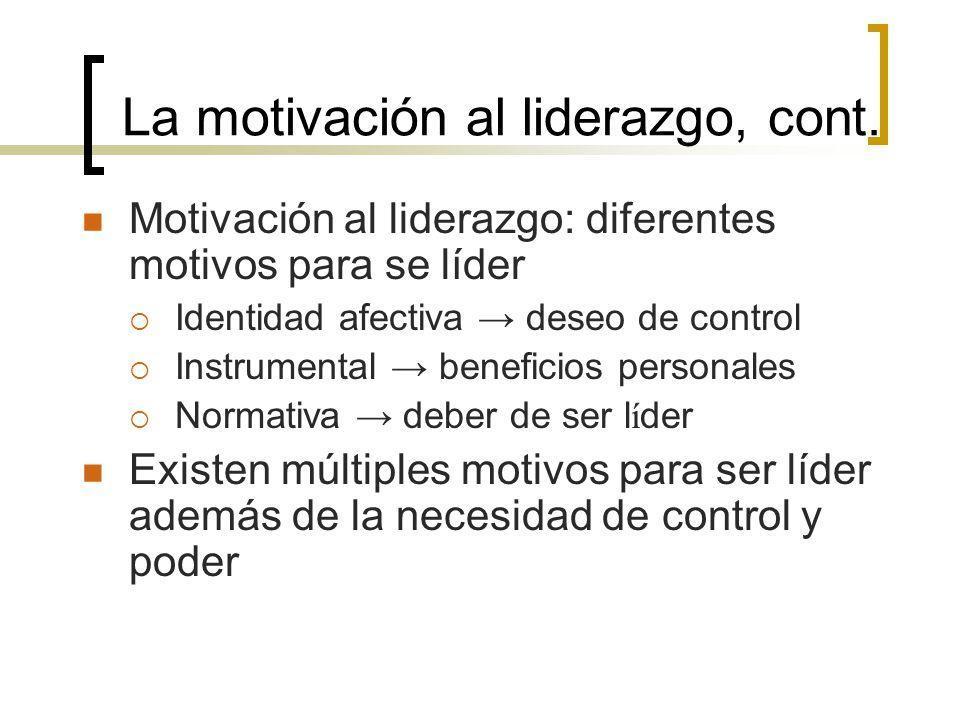 La motivación al liderazgo, cont.