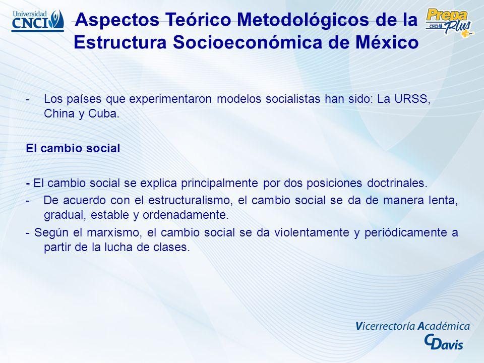 Aspectos Teórico Metodológicos de la Estructura Socioeconómica de México