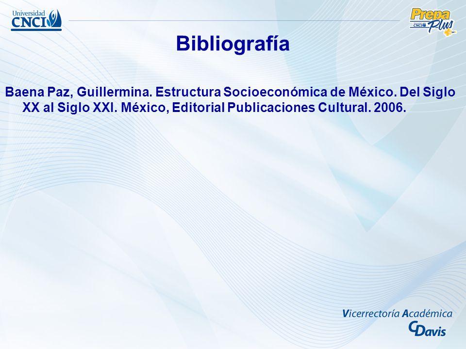 Bibliografía Baena Paz, Guillermina. Estructura Socioeconómica de México.