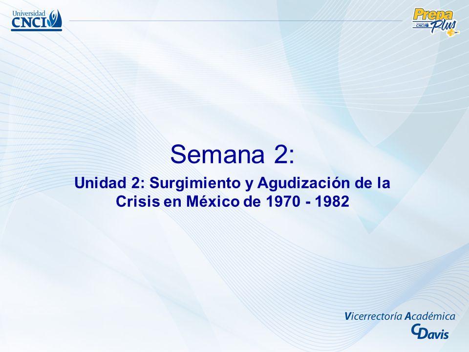 Semana 2: Unidad 2: Surgimiento y Agudización de la Crisis en México de 1970 - 1982