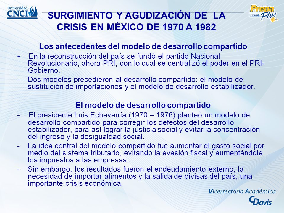 SURGIMIENTO Y AGUDIZACIÓN DE LA CRISIS EN MÉXICO DE 1970 A 1982