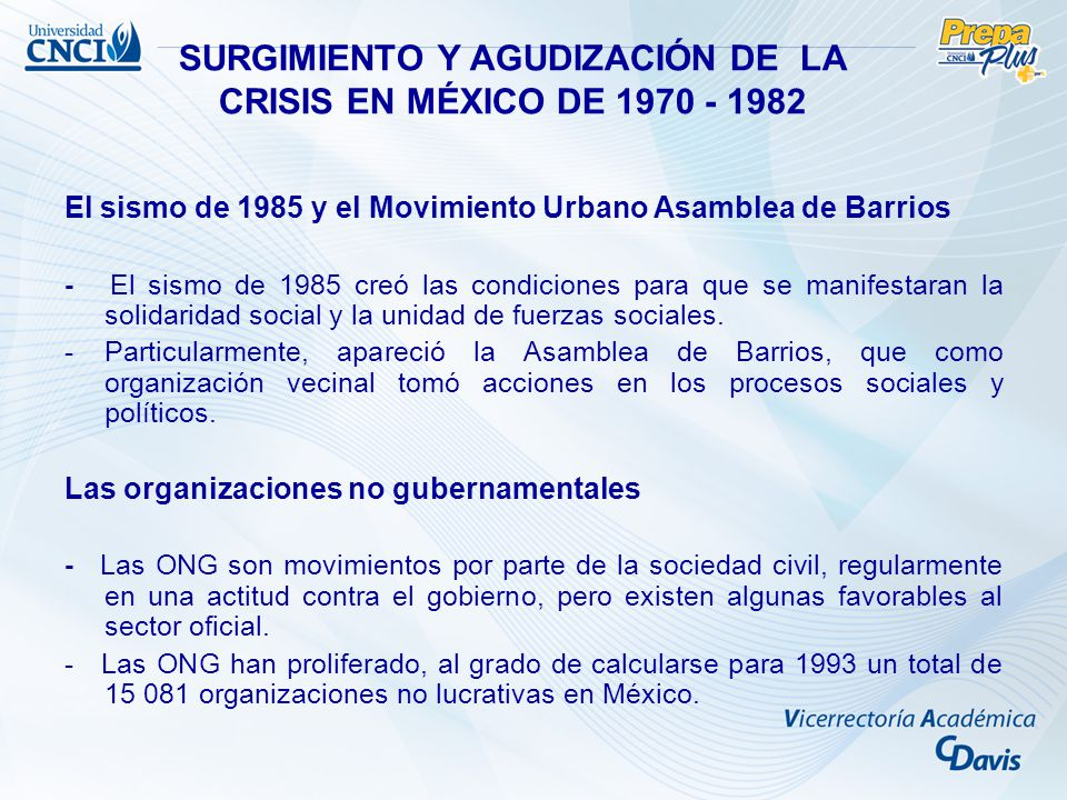 SURGIMIENTO Y AGUDIZACIÓN DE LA CRISIS EN MÉXICO DE 1970 - 1982