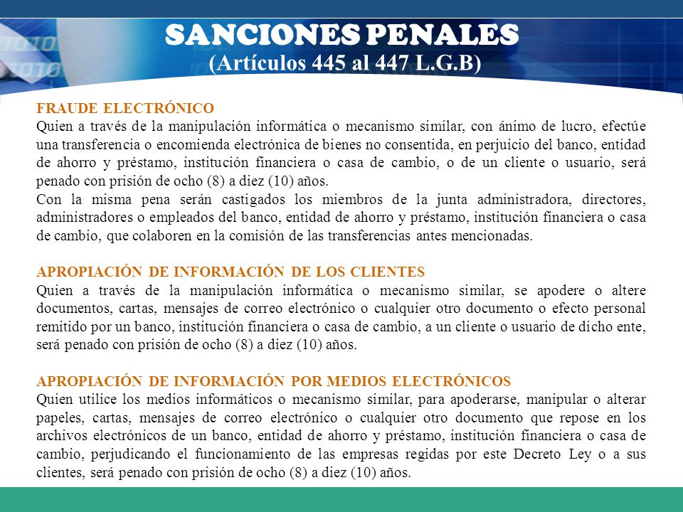 SANCIONES PENALES (Artículos 445 al 447 L.G.B) FRAUDE ELECTRÓNICO