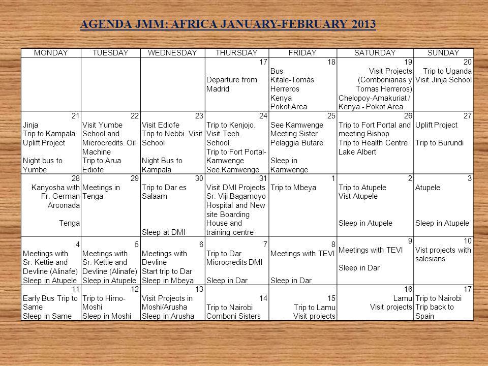 AGENDA JMM: AFRICA JANUARY-FEBRUARY 2013