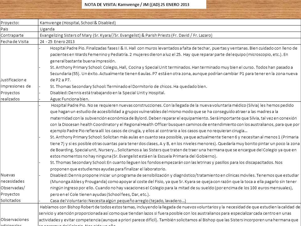 NOTA DE VISITA: Kamwenge / JM ((AD) 25 ENERO 2013
