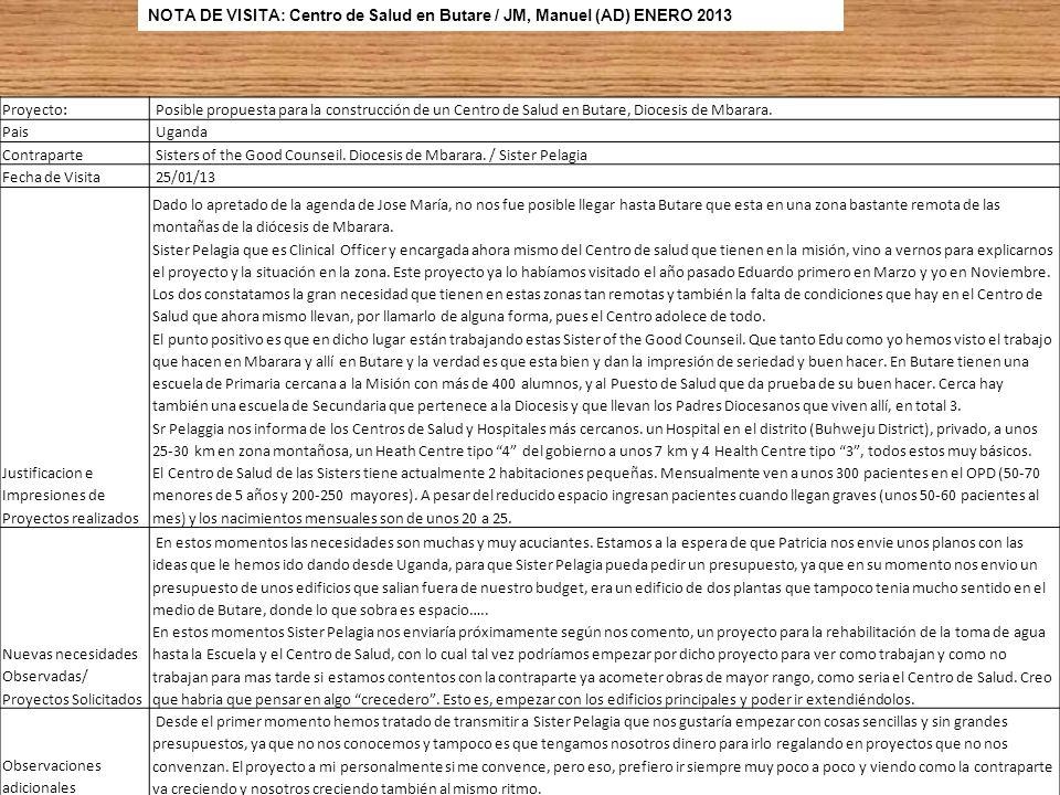 NOTA DE VISITA: Centro de Salud en Butare / JM, Manuel (AD) ENERO 2013