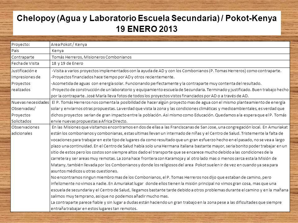 Chelopoy (Agua y Laboratorio Escuela Secundaria) / Pokot-Kenya