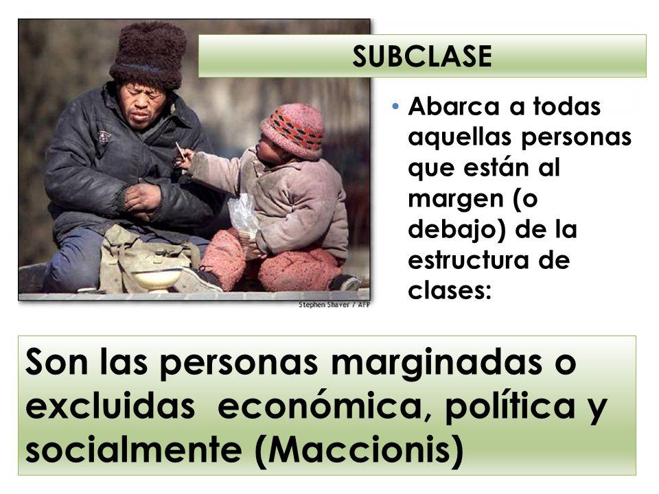 SUBCLASE Abarca a todas aquellas personas que están al margen (o debajo) de la estructura de clases: