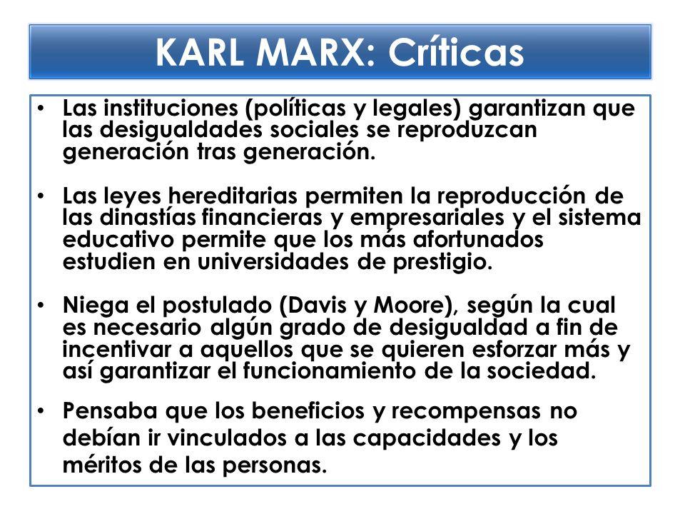 KARL MARX: Críticas Las instituciones (políticas y legales) garantizan que las desigualdades sociales se reproduzcan generación tras generación.