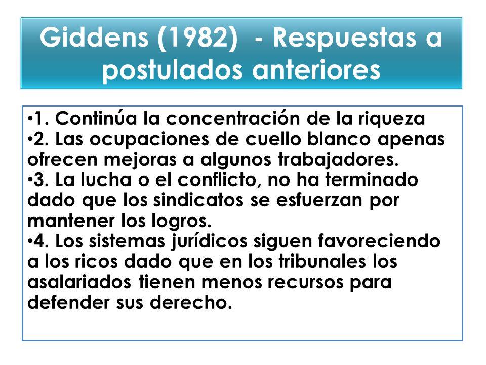 Giddens (1982) - Respuestas a postulados anteriores