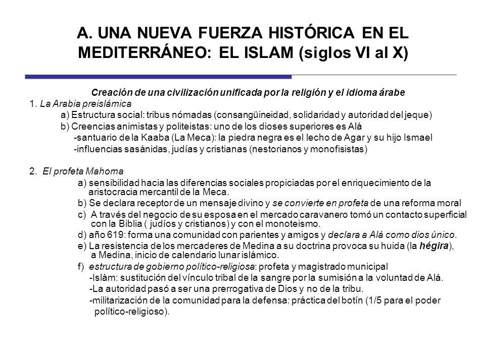 A. UNA NUEVA FUERZA HISTÓRICA EN EL MEDITERRÁNEO: EL ISLAM (siglos VI al X)