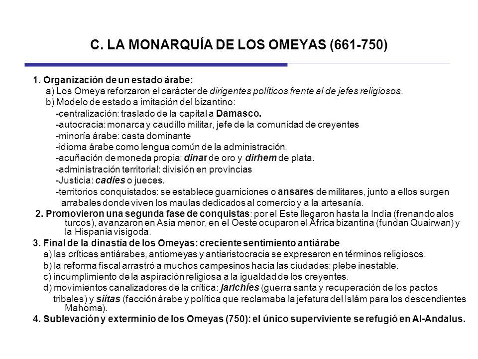 C. LA MONARQUÍA DE LOS OMEYAS (661-750)