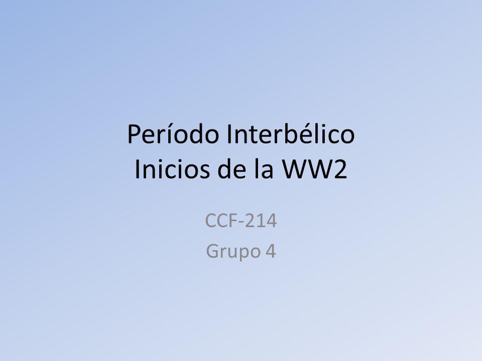 Período Interbélico Inicios de la WW2