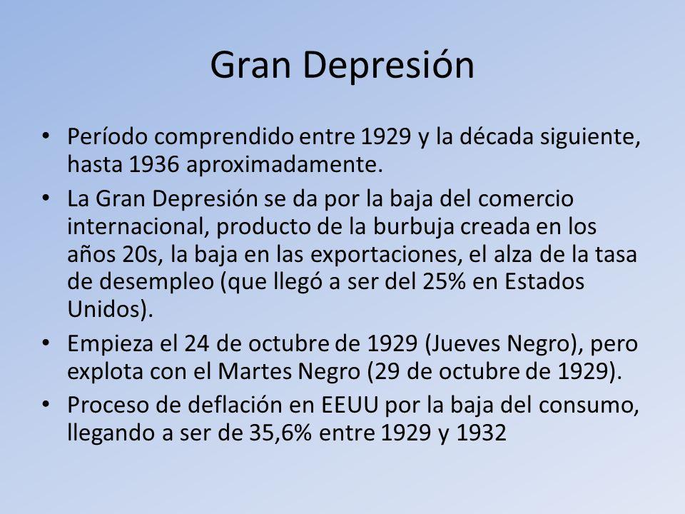Gran Depresión Período comprendido entre 1929 y la década siguiente, hasta 1936 aproximadamente.